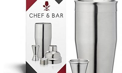 BEST Cocktail and Martini Shaker Set 24 Oz Stainless Steel Bartender Tools + Double Jigger + Bar Recipes