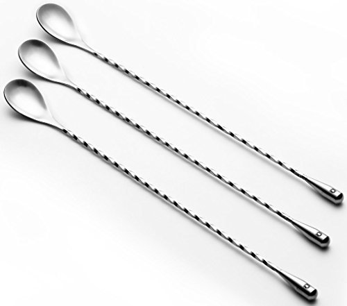 "Think Home Art - Three-Piece -11-inch Stainless Steel Bar Spoons/Cocktail Shaker with Spiral (Twist-Neck) Pattern -Barware/Mixing Tool/ Pro Stirrer and EBook ""How To Make Yummy Cocktails"""