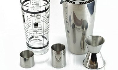 TeiKis® Boston Cocktail Shaker Ultimate Gift Set including 30oz Boston Cocktail Shaker& Martini Shaker Set + Prong Hawthorn Strainer + 25&50ml Measure + Bar Spoon with Masher + Wooden Muddler + 30/50ml Jigger. Stainless Steel Quality